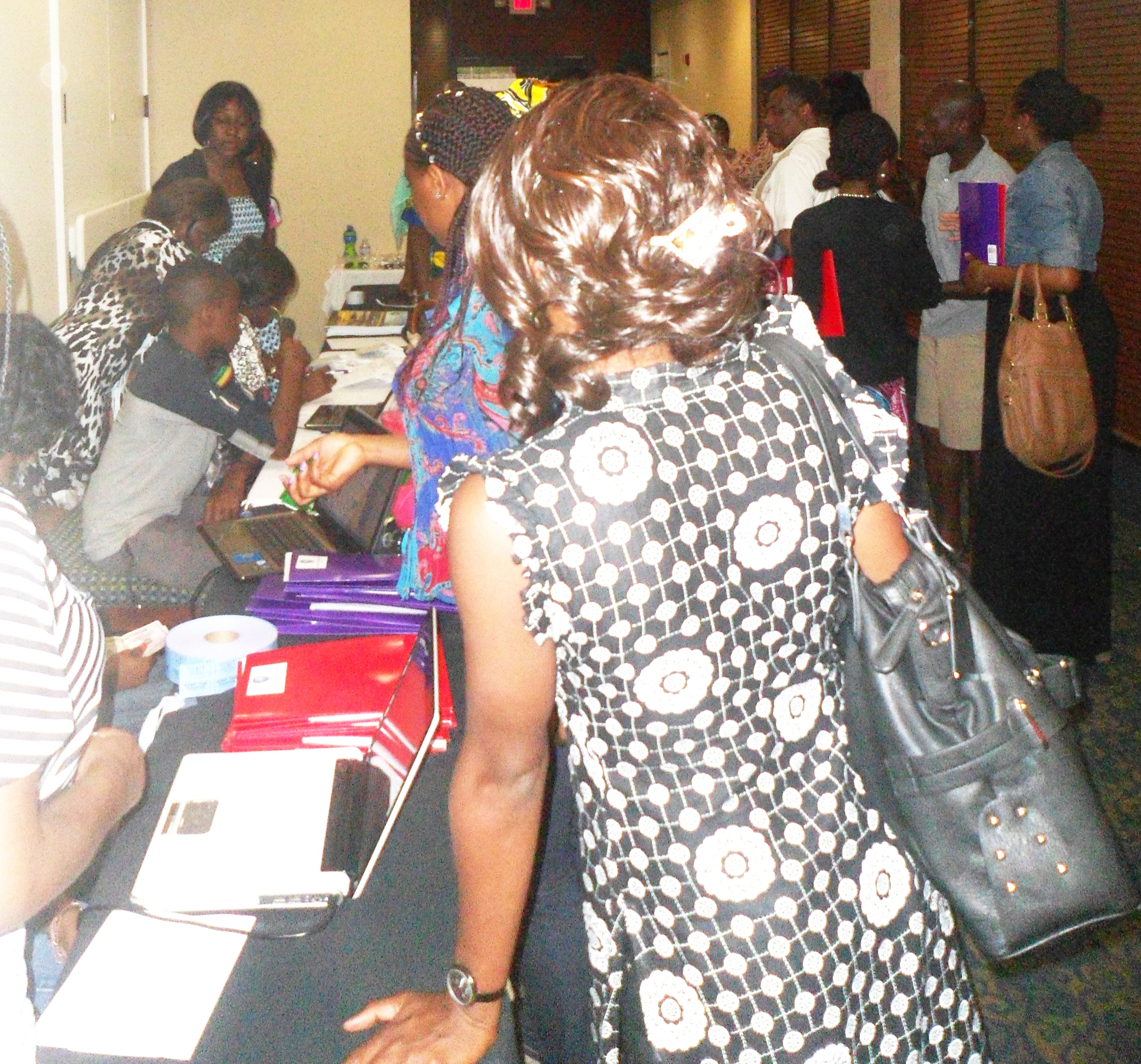Cross Section of Adults in line during ECWA Conference Registration