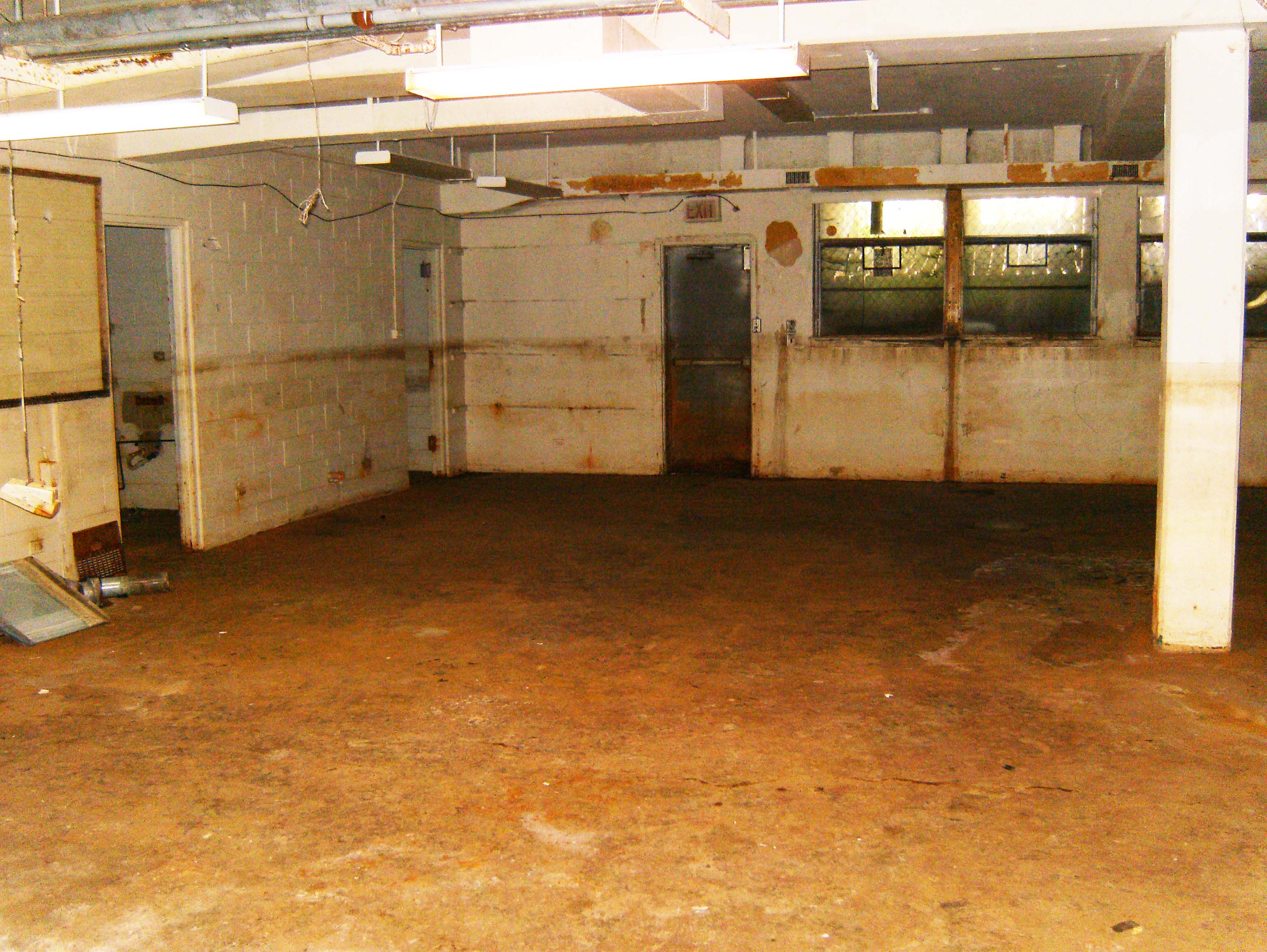 The basement floor that was flooded