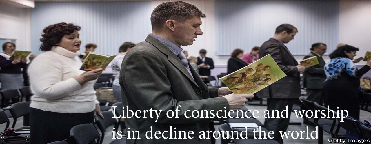 Liberty of conscience and worship is in decline around the world