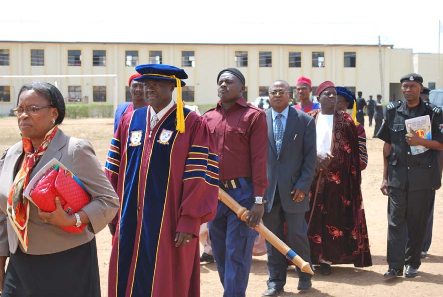 Pro‐Chancellor/Chairman of Bingham University Gen. Martin Luther Agwai, Chairman Board of Trustees Ass. Prof. Basil Nwosu and Etsu Karu/Chancellor of the University Pharm. Luka Panya Baba in a procession
