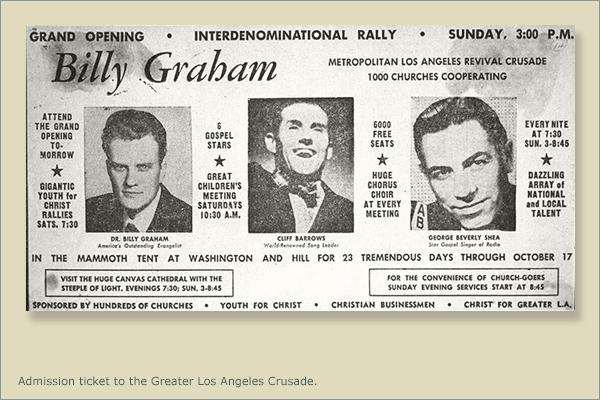 Admission Ticket to Billy Graham LA Crusade
