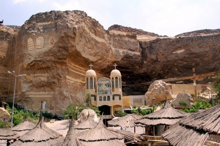 The Cave Church in Egypt has an inside capacity for 20,000 worshippers. Thousands more gather outside of it to join in services each week. (images: Wikipedia, A.P.E. Cairo)