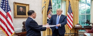 Donald Trump is presented with a letter from North Korean Leader Kim Jong Un, Friday, June 1, 2018, by North Korean envoy Kim Yong Chol in the Oval Office at the White House in Washington, D.C., followed by a meeting. (images by Shealah Craighead)