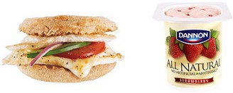 Egg & Cheese Muffin Melt and Dannon Light & Fit Yogurt (Subway)