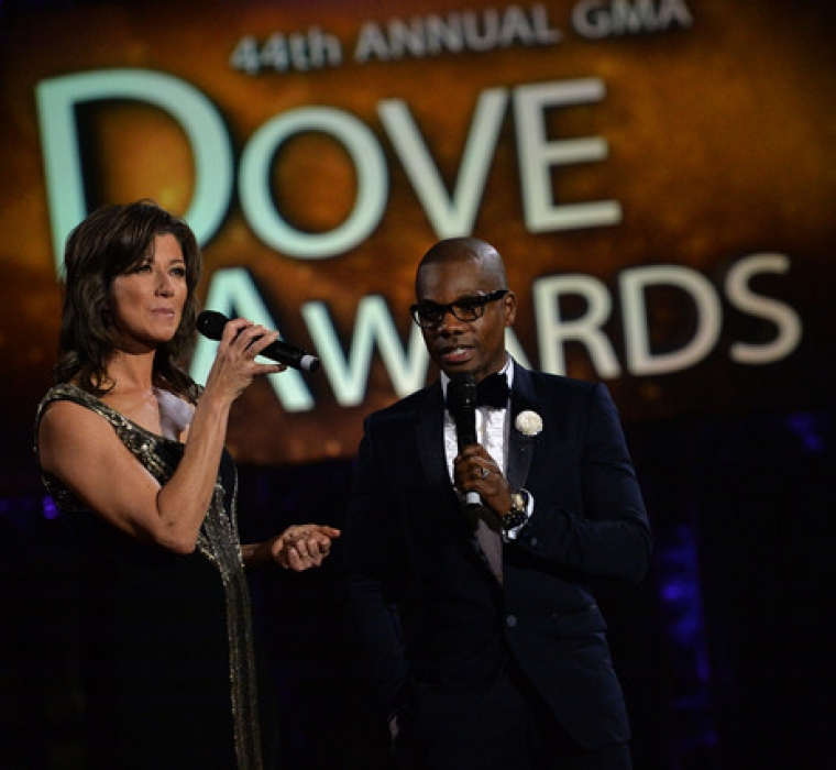 Amy Grant and Kirk Franklin host the 44th Annual GMA Dove Awards on October 15, 2013 in Nashville, Tennessee