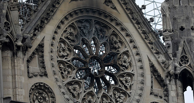 Notre Dame Cathedral rosette following a major fire that began on April 15, 2019, in Paris, France. (Photo credit: Pierre Suu/Getty Images)
