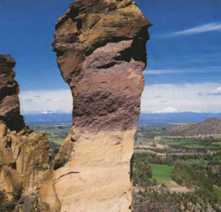 Wind and water shaped the Monkey Face formation, where you can watch experi­ enced climbers challenge Smith Rock