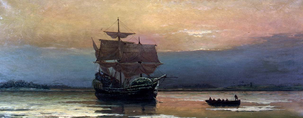 Mayflower in Plymouth Harbor by William Halsall (1882)