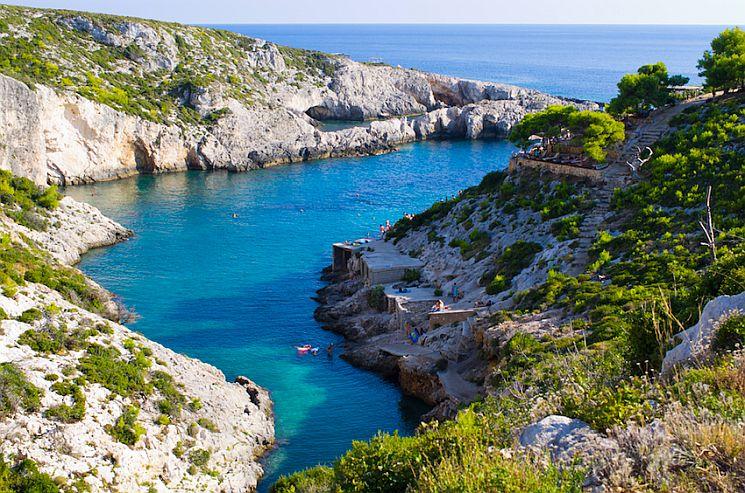 Porto Limnionas bay on Zakynthos island, Greece.