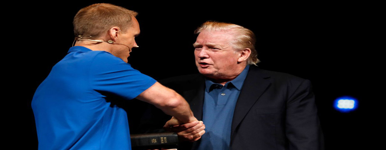 President Trump shakes hands with David Platt after receiving a prayer at McLean Bible Church in Vienna, Va., June 2. (Photo_ Jacquelyn Martin/AP)