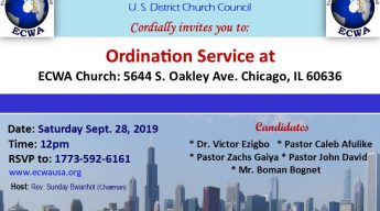 ECWA Chicago 2019 Ordination Service.