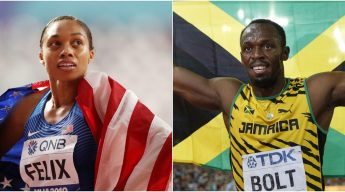 Allyson Felix and Usain Bolt. (Getty image)