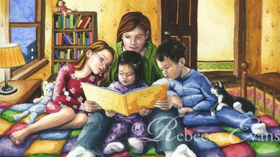 Bedtime Story of Mother Reading to Children
