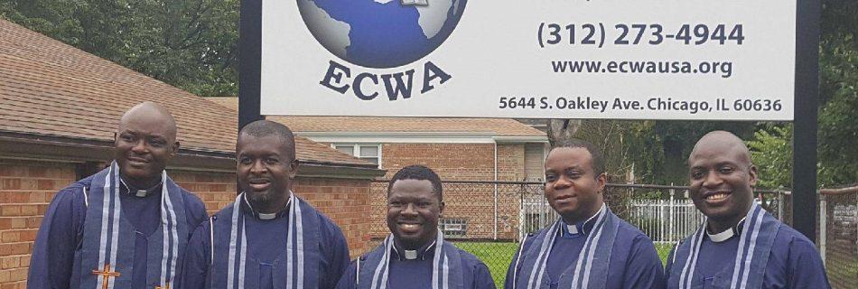 ECWA newly ordained ministers at the ECWA Goodnews Church in Chicago, IL, USA (from left to right are, Rev. Zachs-Toro Gaiya, Rev. Caleb Afulike, Rev. John David, Rev. Dr. Victor Ezigbo and Rev. Boman Bognet)
