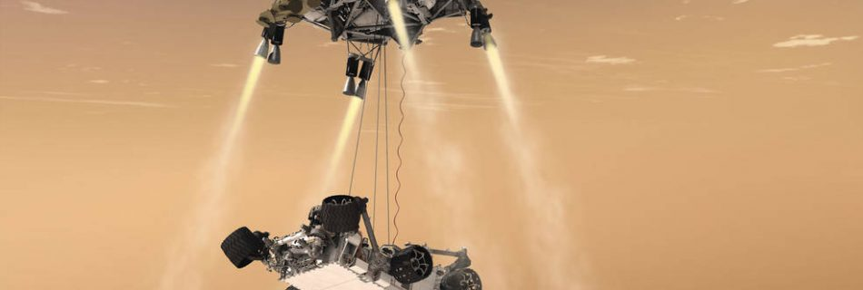 This artist's concept shows the sky-crane maneuver during the descent of NASA's Curiosity rover to the Martian surface. The Mars mission launching in 2020 would leverage the design of this landing system and other aspects of the Mars Science Laboratory architecture.(image NASA/JPL)