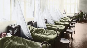 An influenza ward at a U.S. Army Camp Hospital in France during the Spanish flu pandemic of 1918. (Image Shutterstock)