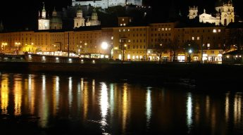 Salzburg Austria: The fortress (background), Salzburg Cathedral (middle), the Salzach (foreground)