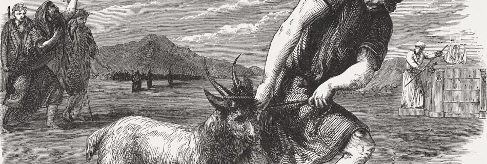 The goat buck as a sin offering (Numbers 29, 5). Wood engraving, published in 1886.