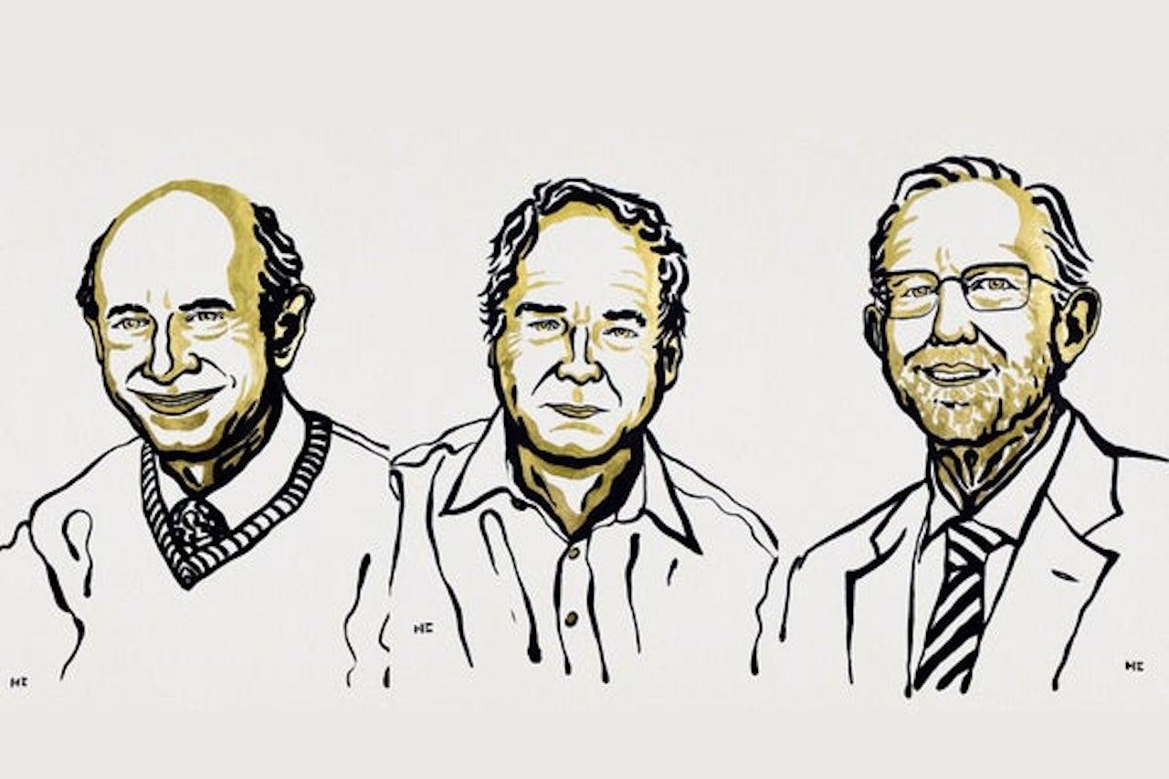 Harvey J. Alter, Michael Houghton, Charles M. Rice. Credit- Ill. Niklas Elmehed, © Nobel Media