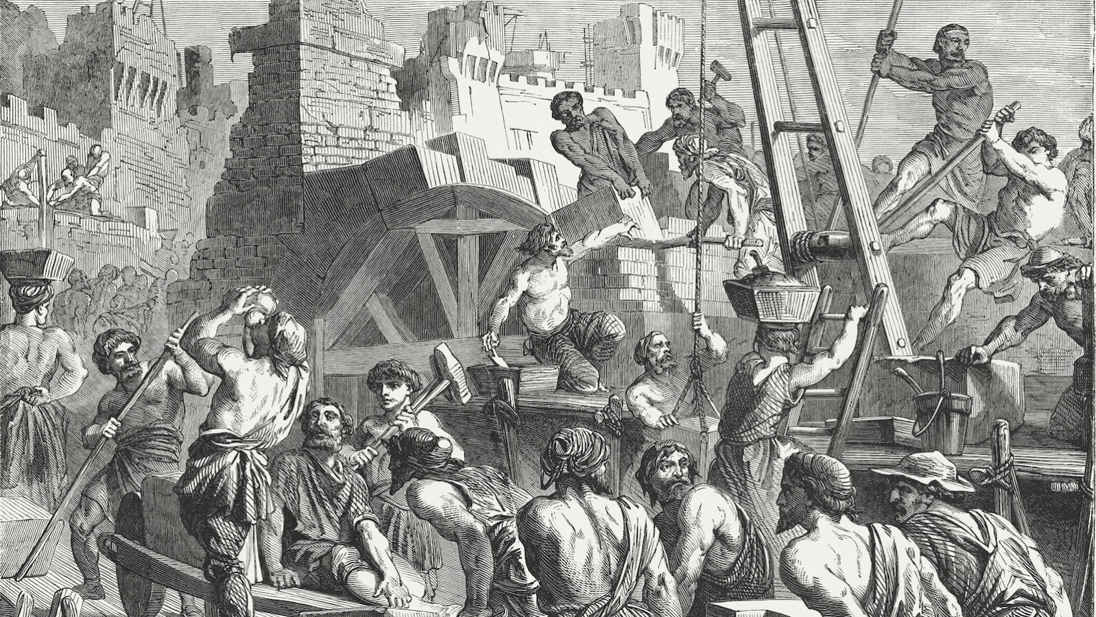 Rebuilding the Wall of Jerusalem (Nehemiah 3-4). Wood engraving, published in 1886. Nehemiah along with those who returned from Babylonia sought to reclaim Judah's former glory, despite major challenges (Images by ZU_09/Getty Images)