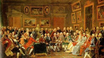 Reading of Voltaire's L'Orphelin de la Chine (a tragedy about Ghengis Khan and his sons, published in 1755), in the salon of Madame Geoffrin (Malmaison, 1812/WikkiCommons)