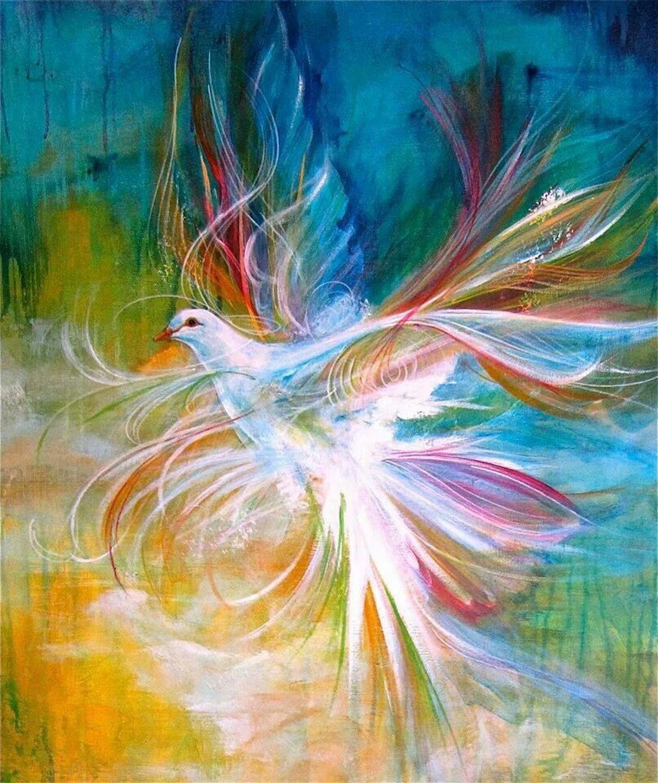 Holy Spirit Dove digital prophetic art painting by Charlotte Szivak (Pinterest)