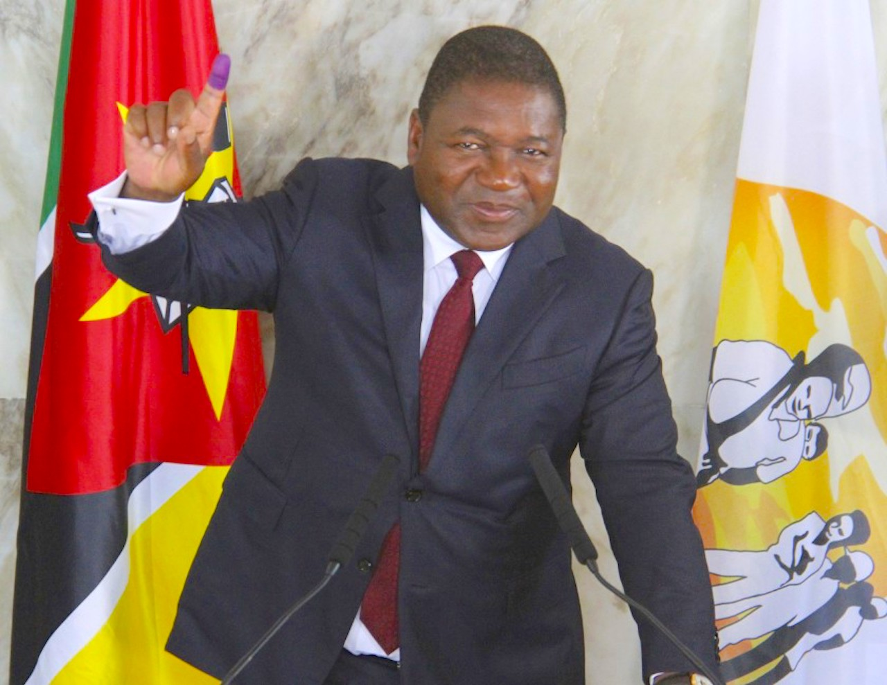 Mozambican President Felipe Nyusi in Maputo, Mozambique, during elections in October 2019. (Image by Ferhat Momade/Associated Press)