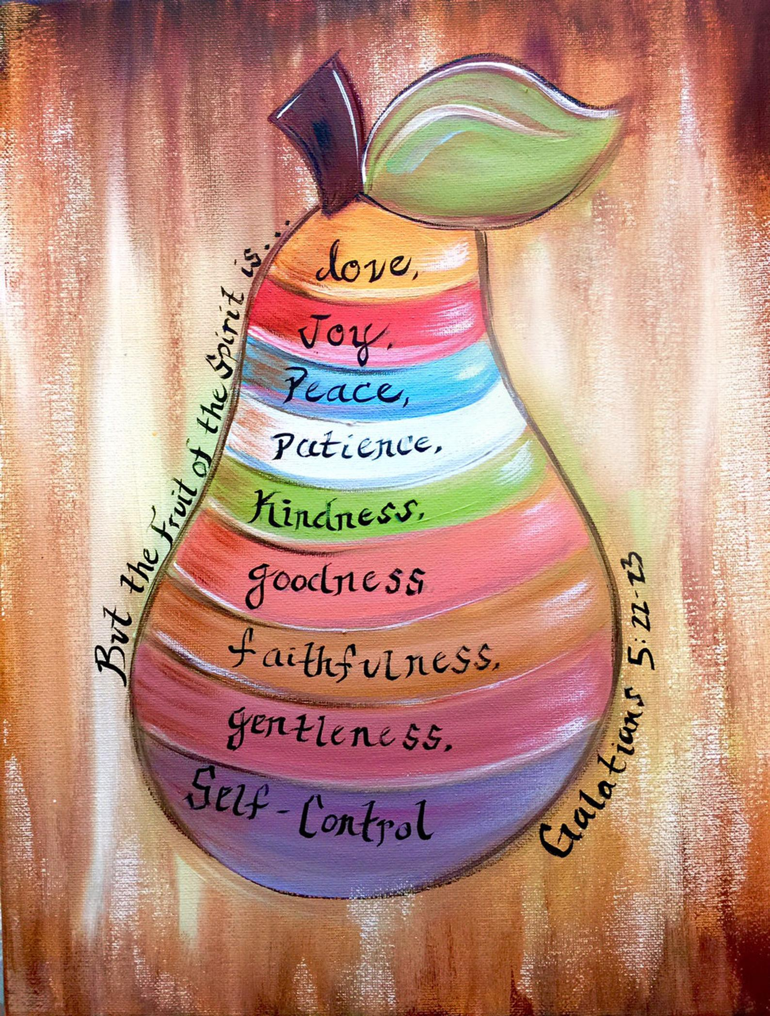 The fruit of the spirit painting, colorfully hand painted by Sheila A. Smith