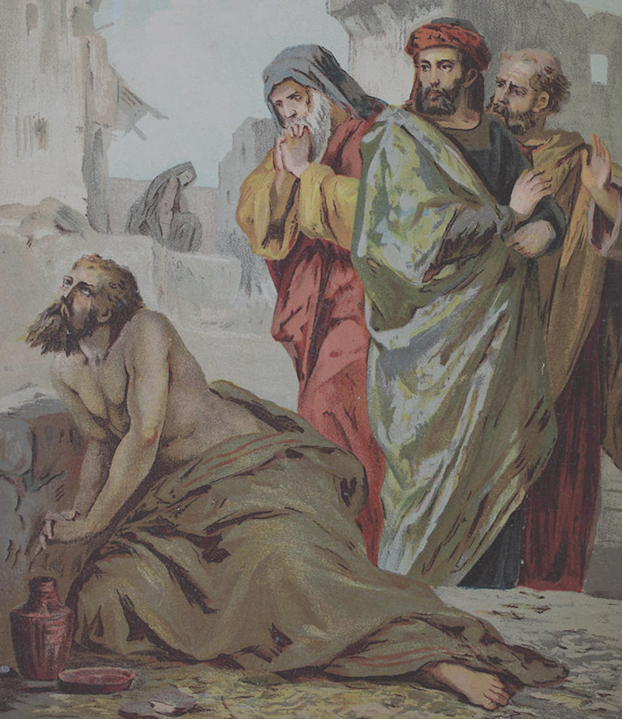 Job and his friends, 1870 (Drawing by Heinz)